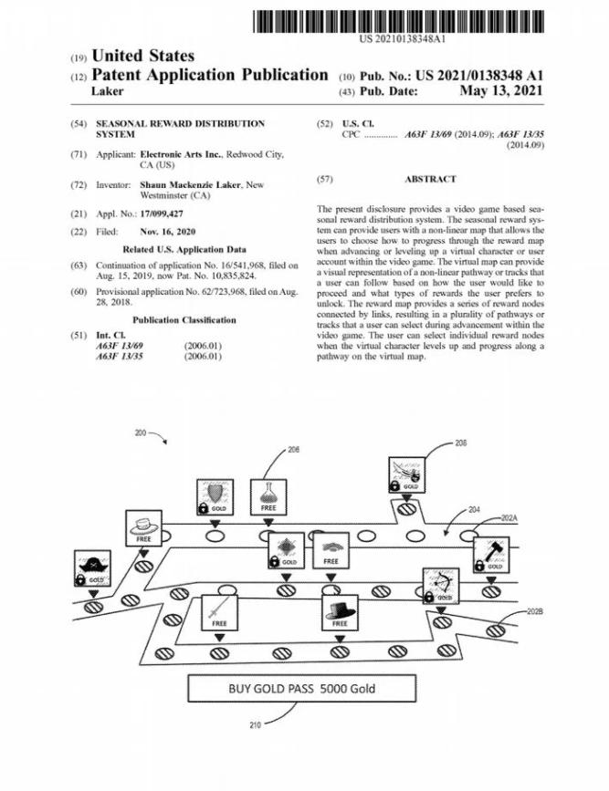 Electronic Arts - battle pass patent